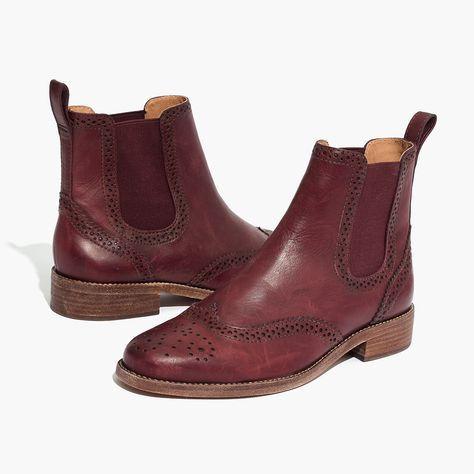 Madewell Womens Ivan Brogue Chelsea Boot In Dark Cabernet