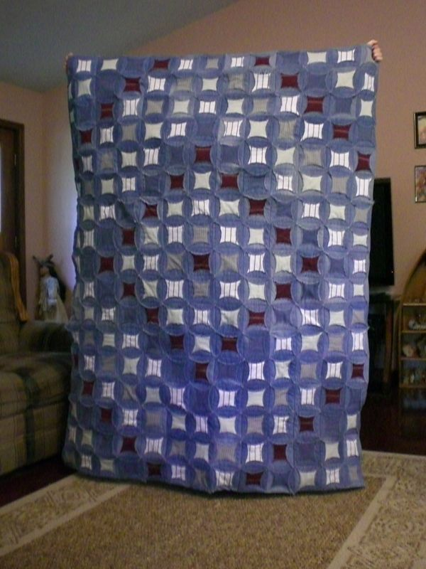 A fun project for all the old jeans I have stashed.  Different than the other 2 jeans quilts I have made.