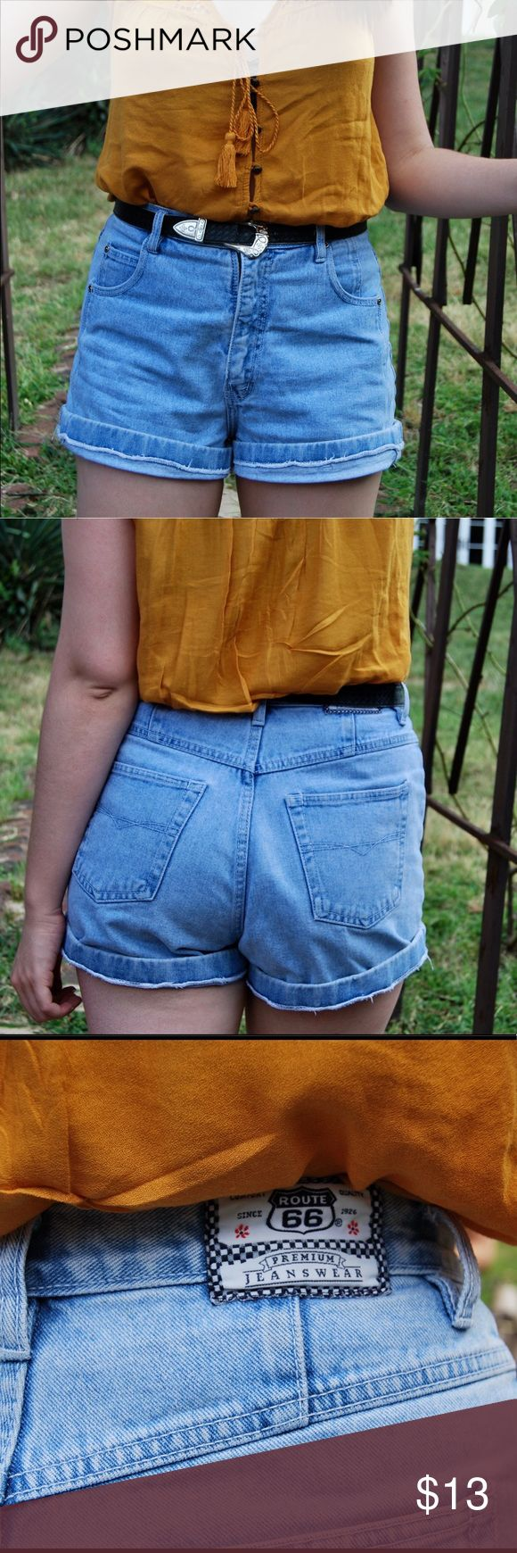 "Jean Queen Classic high waisted light wash shorts. Cuffed once in photos in addition to the pre-made cuff. In great condition and very comfy!  Tag says size 13/14, but fit a 10.  Model: size 10, 5'9"" Route 66 Shorts Jean Shorts"