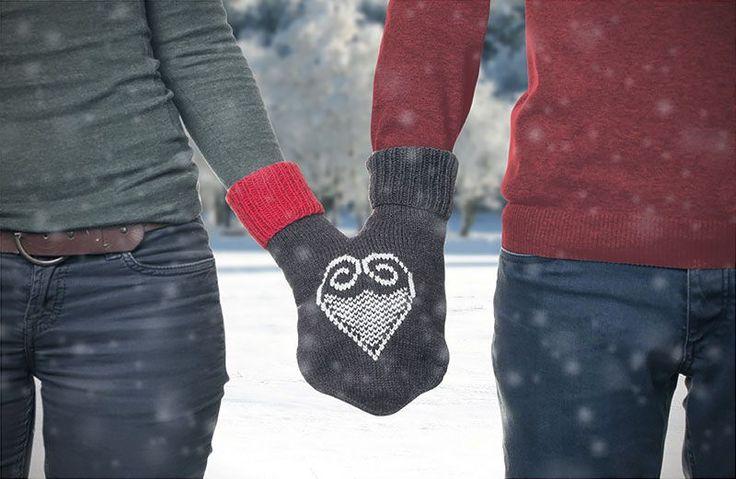 Super Idee und eine kostenlose Anleitung: Partnerhandschuh zum Valentinstag stricken
