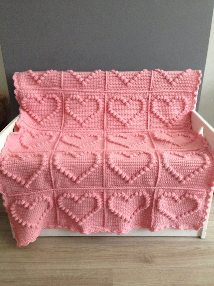 Angels handmade with love: Bobble heart blanket + vertaald patrolon !!