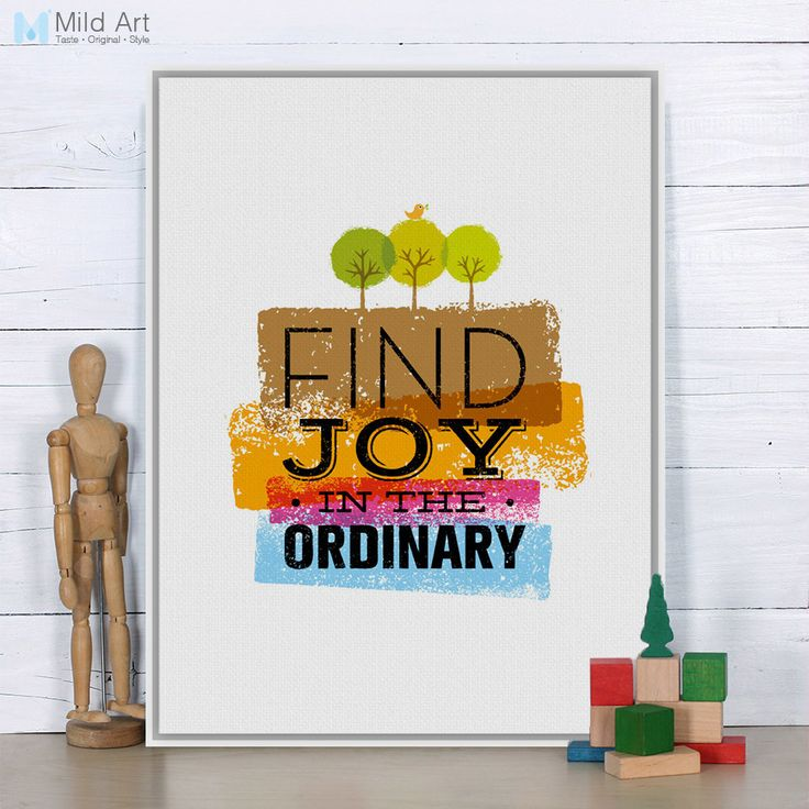 Cheap canvas art print poster, Buy Quality art print poster directly from China wall pictures Suppliers: Vintage Retro Motivational Typography Joy Quote Canvas Art Print Poster Nursery Wall Picture Painting Living Room Decor No Frame