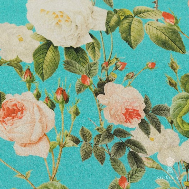 Жоржет шелковый (розовый сад на бирюзовом) (005636) купить в интернет магазине итальянских тканей по цене 3790 р.