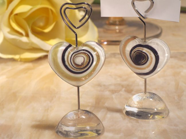 murano art deco collection heart place card holder