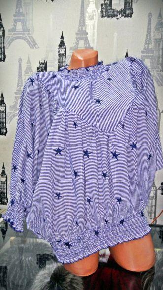 Bluza cu dungi albastre si stelute Compozitie: 100% bumbac Marimi: universala