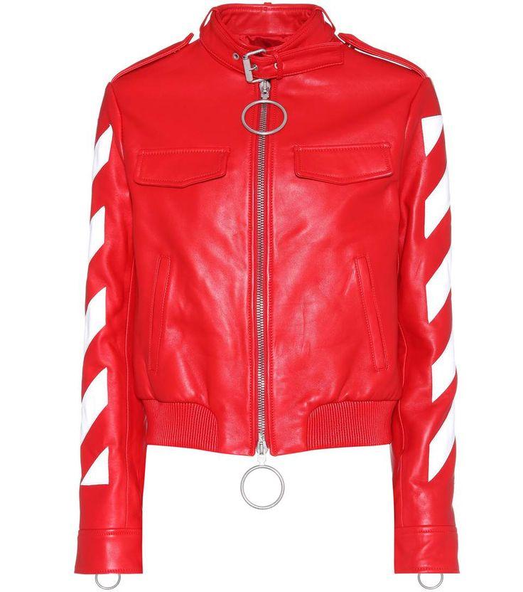 Bedruckte rote Lederjacke