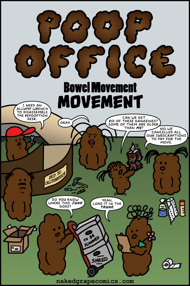 Big Announcement  Bowel Movement Movement -  Normally Poop Office makes an appearance in Baltimore Comic-Cons Artist Alley but it was mysteriously absent this past September. Whats going on?!  Well to put it simply I moved from the DC/Baltimore area way out to the Southern California! With all the stress and commotion of the move there just wasnt time to plan for the con this year.  Poop Office is on the move!  Now that the poops and I are settled in this crazy new state I have tons of stuff…