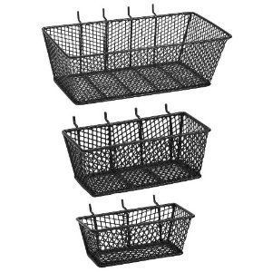 The Bulldog Hardware 131595 Mesh Basket-Value Pack by Bulldog Hardware. $16.28. From the Manufacturer                Wire/mesh combo baskets allow for storage of larger parts, tools and any range of small miscellaneous supplies. Baskets are designed to easily hang on pegboard panels or can be set on any flat surface for workspace mobility and convenience. Value pack includes 1 small, 1 medium and 1 large basket.                                    Product Descrip...