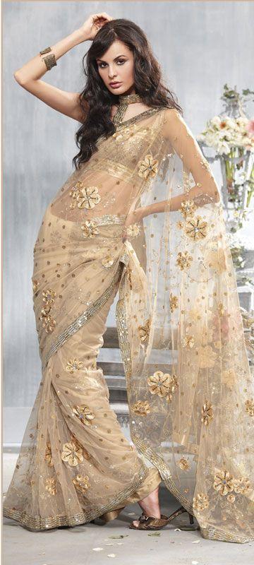 Gold #Net #Saree