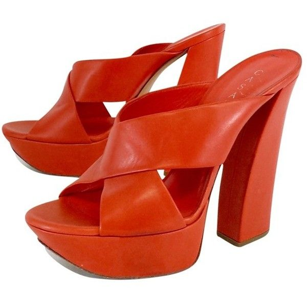 Pre-owned Casadei Orange Leather Platform Sandal Heels ($249) ❤ liked on Polyvore featuring shoes, sandals, orange, high heel sandals, orange sandals, orange platform sandals, leather shoes and high heeled footwear