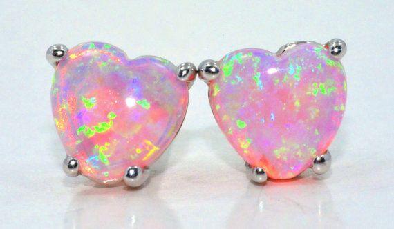 Pink Opal Heart Stud Earrings