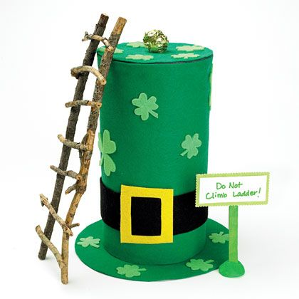 Trick leprechauns into climbing up this stick ladder to the top of the hat.