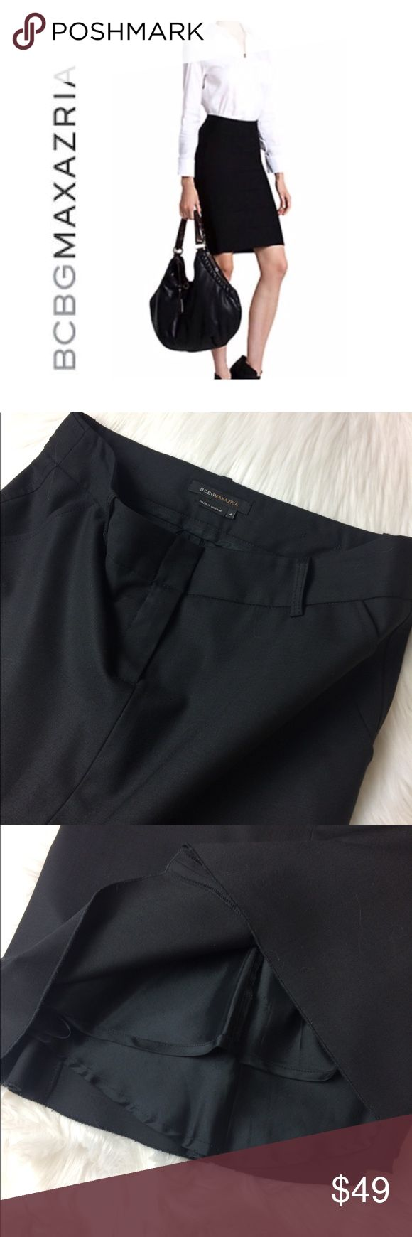 "BCBGMaxAzria Skirt BCBGMaxAzria black pencil skirt, raw edge style hem, belt loops with a flare in the back, NWOT wool and spandex, waist 30"", length 22"", hips 35"" BCBGMaxAzria Skirts Pencil"