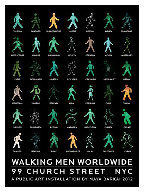 """""""Walking Men Worldwide™"""" by Maya Barkai is """"a photographic collage of pedestrian traffic icons assembled from around the world, presented in..."""