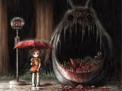 Totoro: Neighbour Totoro, Dark Side, Dark Art, Neighbor Totoro, Monsters, Fans Art, Bus Stop, Studios Ghibli, Animal