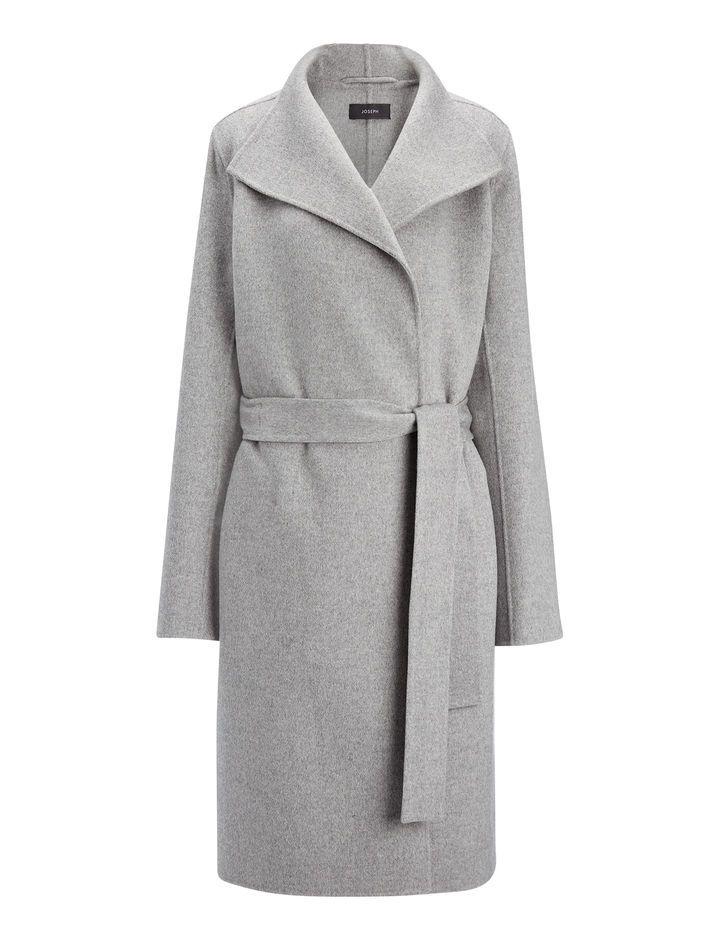 Double Face Cashmere Lima Coat, in CONCRETE, large | on Joseph