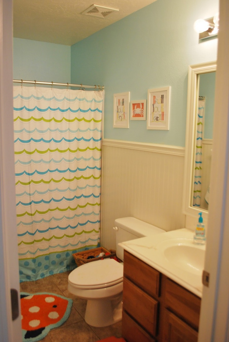 Bright kids bathroom reveal kid bathrooms and kids for Kids bathroom ideas for boys