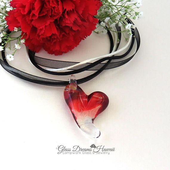 Glass Heart Necklace Valentine Glass Heart Pendant Handmade