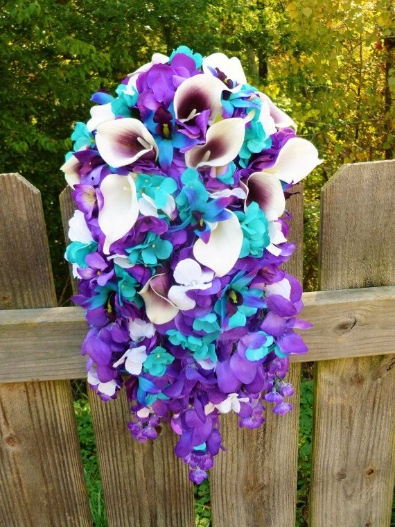 Hey, I found this really awesome Etsy listing at https://www.etsy.com/listing/251334308/purple-turquoise-cascade-bouquet