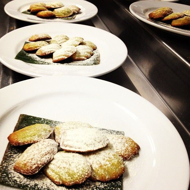 Petit Fours at #LaksaSmackdown: Matcha Madeleines with mandarine sugar at Orient East, Melbourne, Australia
