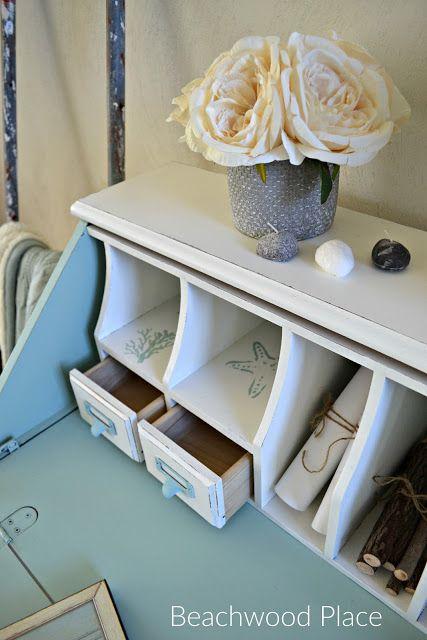 Coastal Style Casual Desk Makeover #makeover @coastalliving #chalkpaintedfurniture #furniture #coastal #desk #coastalfurniture