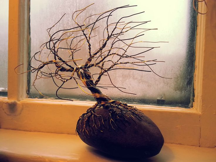 "For Sale - ""Hang In There"" - Gold, Silver and Black Tree - 25cm tall (bottom of rock to highest branch) - $70 CDN  ***SOLD***"
