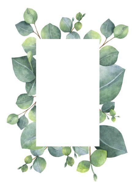 Aquarela cartão floral verde com Dólar de prata …