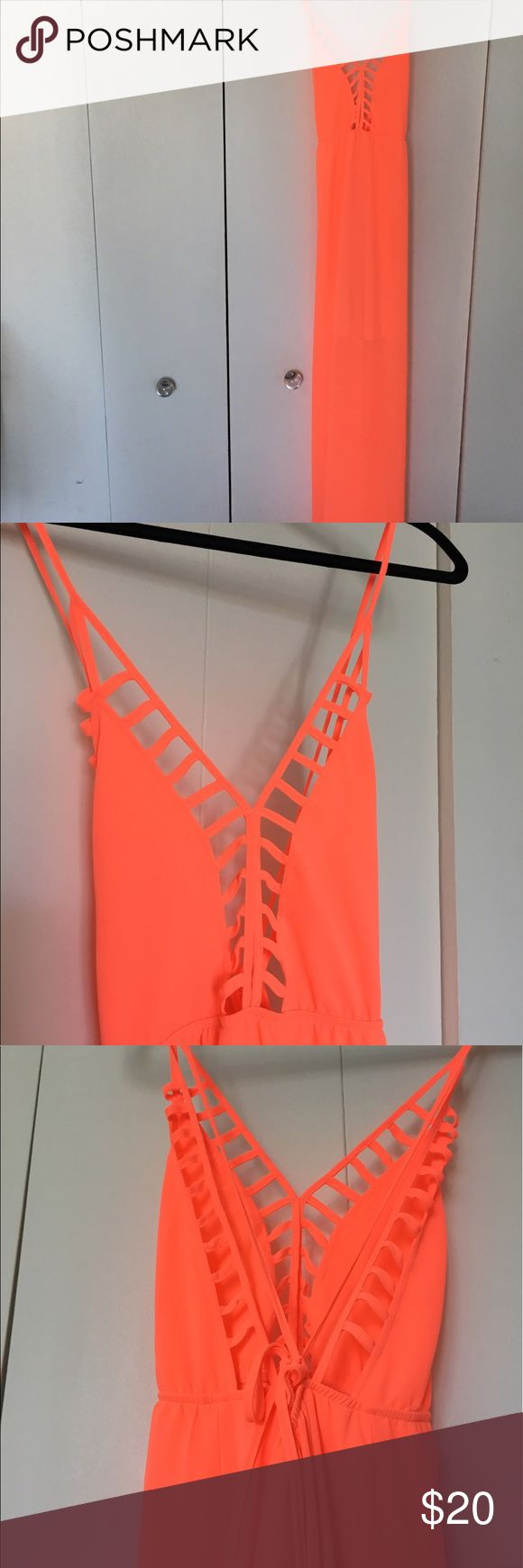 Neon orange maxi dress Perfect summer going out dress! Light weight and machine washable. The inside is lined to the mid thigh. Loila Dresses Maxi