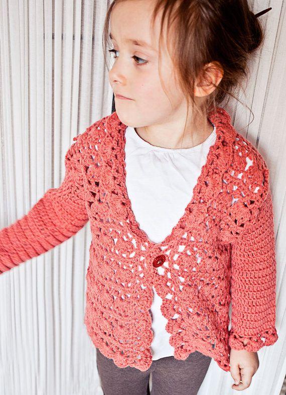 Crochet PATTERN  Harriet Lace Cardigan sizes newborn up to 8