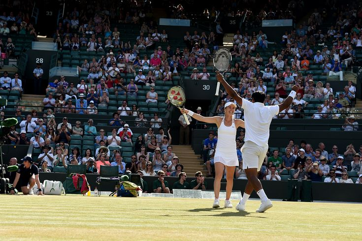 Leander Paes and Martina Hingis celebrate their semi-final win in mixed doubles Javier Garcia/AETLC Wimbledon 2015