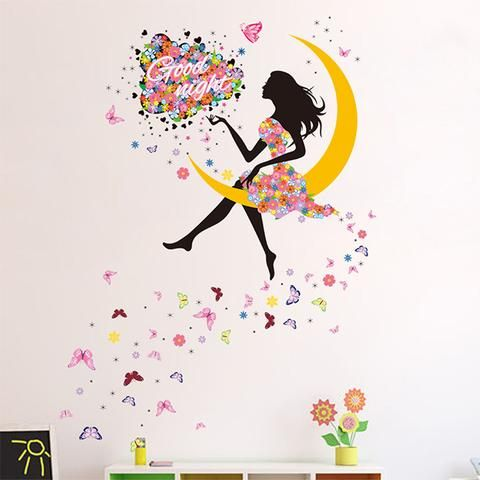 Flower Girl Wall sticker in the moon with flying butterflies