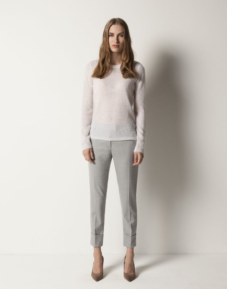 Mohair Sweater - Winter White, Slim Cuffed Pant - Grey Melange