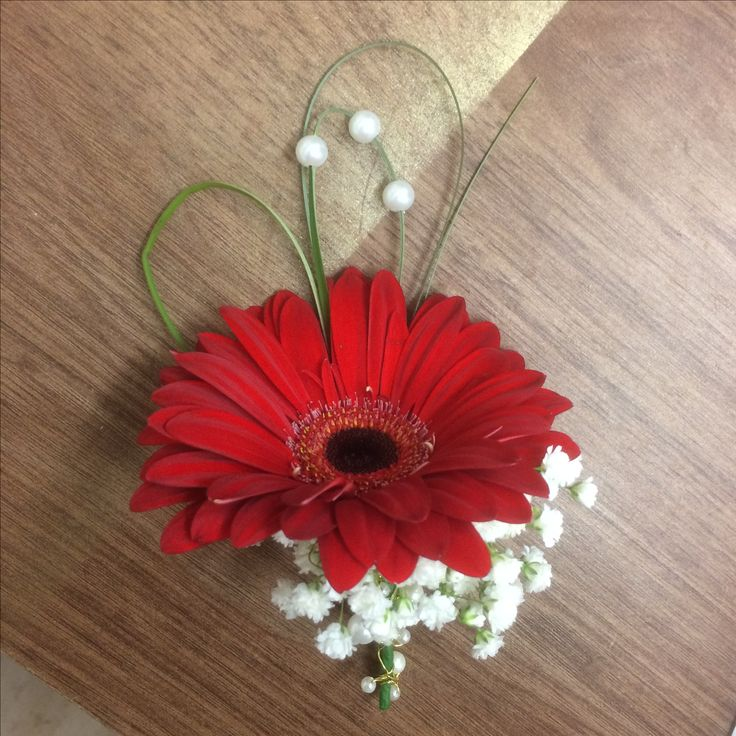 Red Gerbera On Hole With Gypsophila And Bear Gr Pearls