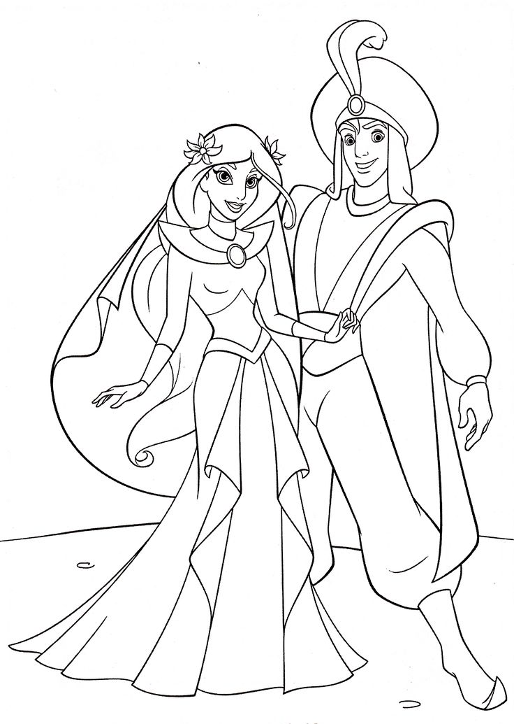 jasmine coloring pages with aladdin