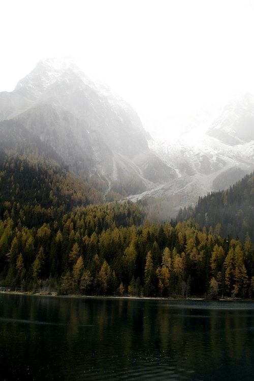 Landscape Photography | Majestic snow-capped mountains over pine forests and deep dark green lake