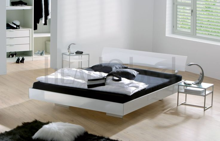 High gloss white contemporary bed