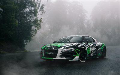 Scarica sfondi Audi R8, tuning, fari, supercar, auto tedesche, Audi