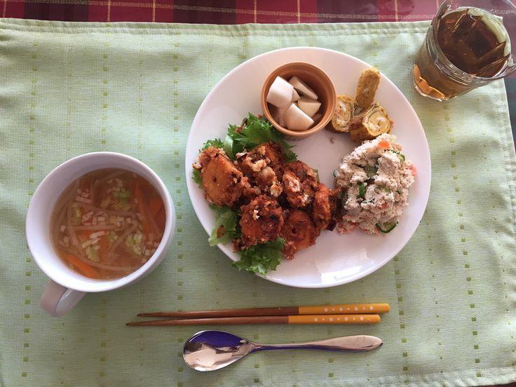 おうちごはん / lunch / made all by myself / エビチリ風おから ポテサラ風おから だし巻き卵 中華スープ