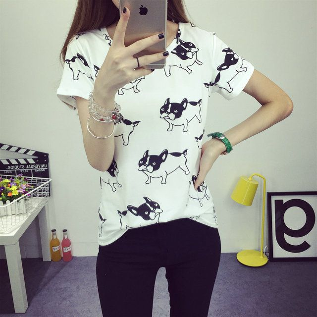 Wholesale Summer New cute dog printed fashion clothes T-shirts for women tee shirt femme camisetas poleras tshirt female t shirts tops From m.alibaba.com
