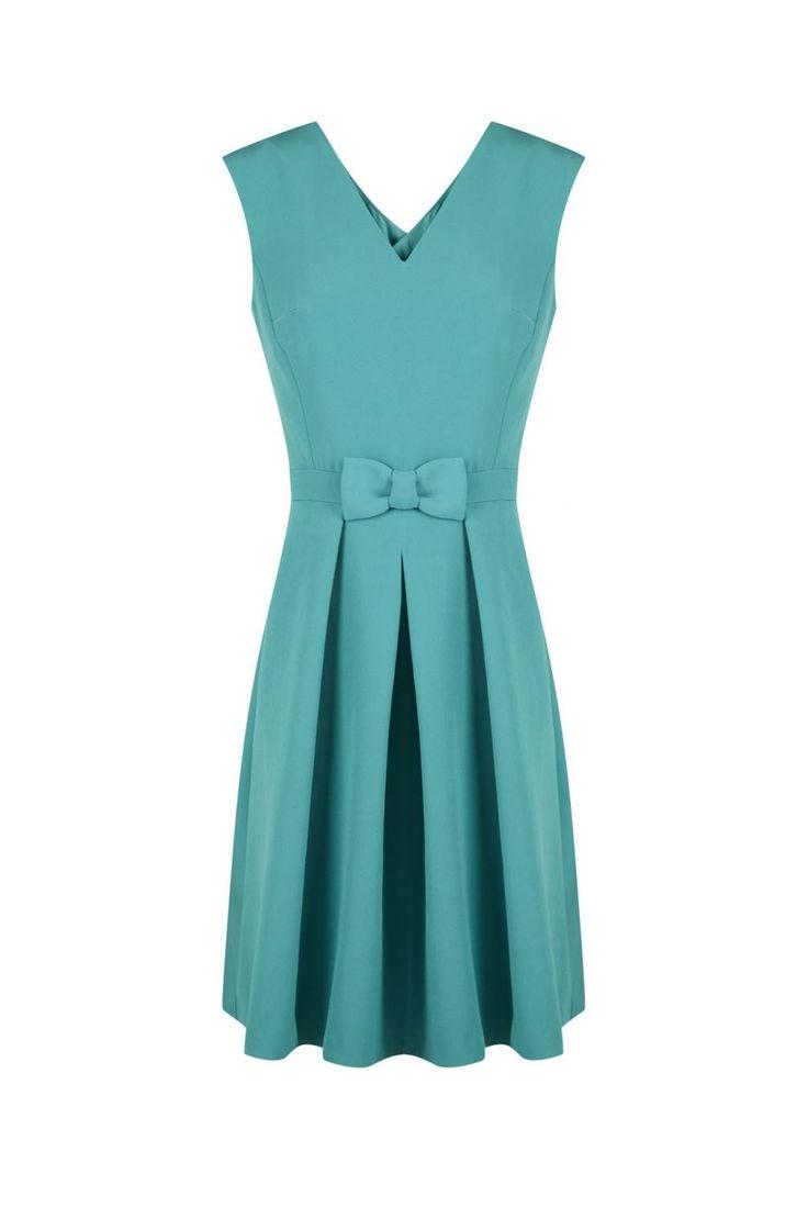 Robe cintree croisee dos detail noeud ceinture  emeraude - robes femme - naf naf 1