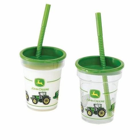 These great John Deer plastic cups are perfect for a take home gift for all of your party goers. Measuring 4 tall and 3 1/4 across they are a great size for a childrens party cup. Tractors and big trucks are a favorite of boys and girls, so have a John Deere Tractor themed birthday party this year. Your Child will love all of our great John Deere Tractor accessories.