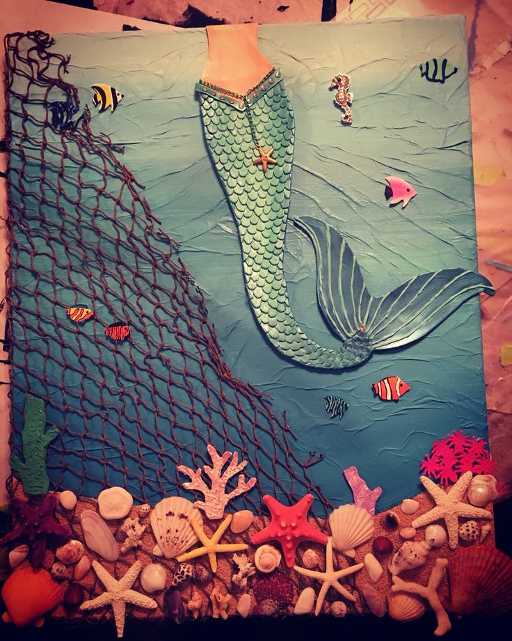 Mermaid mixed media canvas I completed