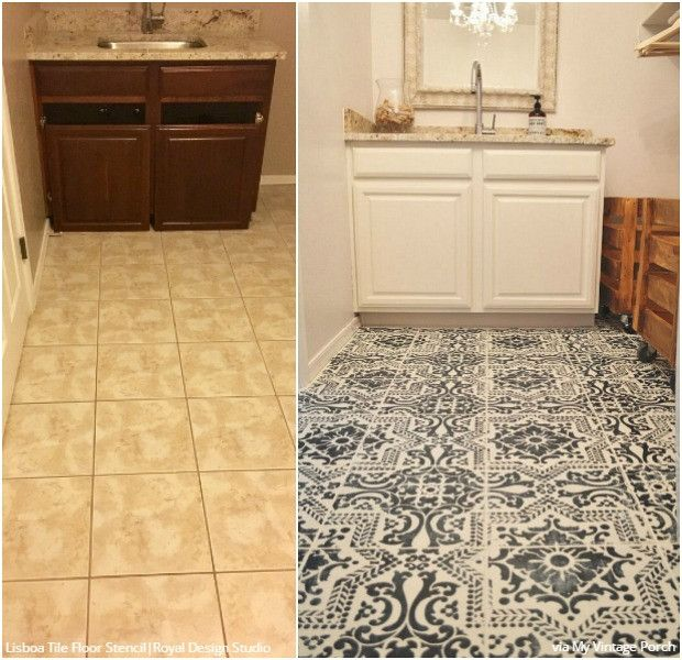 Farmhouse Kitchen Floor Ideas: Floor Stencils Decorate A Vintage Farmhouse