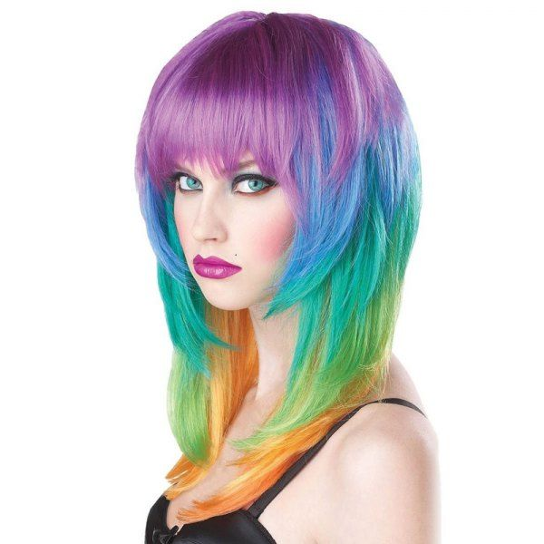 $13.83 Fashion Full Bang Layered Long Straight Synthetic Charming Offbeat Rainbow Capless Wig For Women