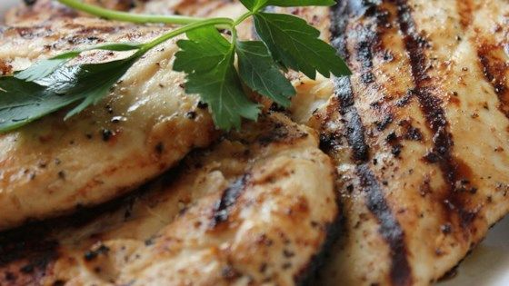 Italian salad dressing does wonders for chicken breasts, especially if they are left to marinate for several hours in the fridge. Then just before grilling, each breast gets a sprinkling of lemon pepper.