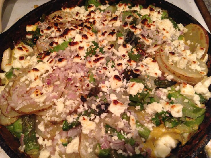 Spring frittata with asparagus, potatoes, green pepper, shallots, feta and chives