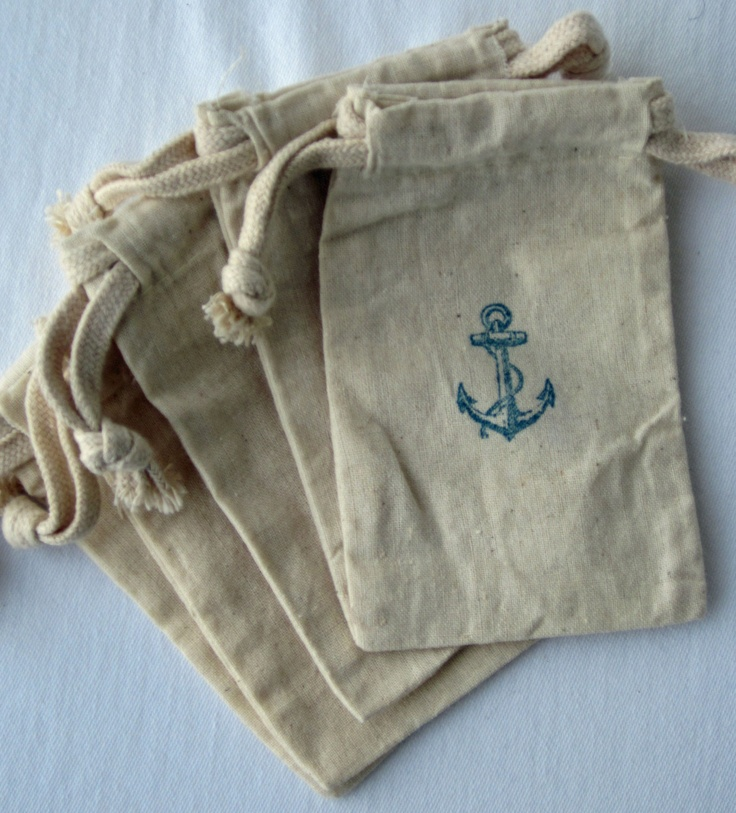 Beach Wedding Gift Bags For Guests : ... Bags, Wedding Favor Bags, Cotton Bag, Anchor Wedding, Beach Weddings