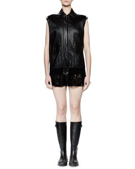 SAINT LAURENT Leather Flight Jacket Vest, Noir. #saintlaurent #cloth #