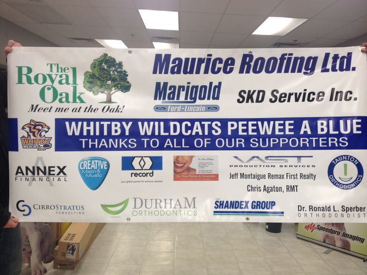 This Whitby Wildcats Peewee A White sponsor banner – 3' x 6' banner - single sided digital print on 13oz scrim vinyl with grommets – completed by Speedpro Imaging Oshawa.