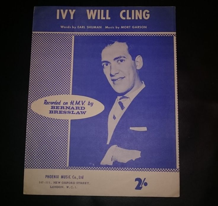 Bernard Bresslaw   Ivy Will Cling   1959   sheet music   words by Earl Shuman  music by Mort Garson  HMV   Phoenix Music Co by bastarduk on Etsy